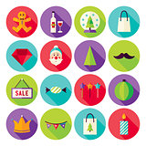 Happy New Year Merry Christmas Circle Icons Set with long Shadow