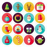 Merry Christmas New Year Circle Icons Set with long Shadow