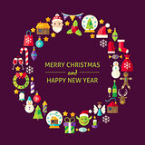 Merry Christmas New Year Holiday Flat Design Icons Circle Set