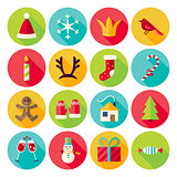 New Year and Merry Christmas Circle Icons Set with long Shadow