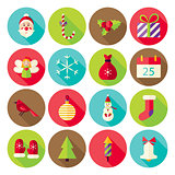 New Year Merry Christmas Circle Icons Set with long Shadow