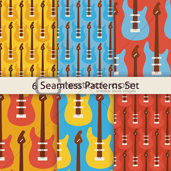 Six Vector Flat Seamless Rock Music Instrument Guitar Patterns S
