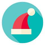 Vector Flat Design Christmas Santa Hat Circle Icon
