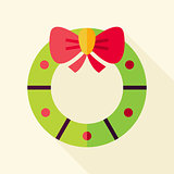 Vector Flat Design Christmas Wreath Icon