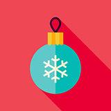 Vector Flat Design Decorative Christmas Ball Icon