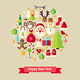 Vector Flat Style Happy New Year Objects Concept