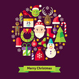 Vector Flat Style Merry Christmas Objects Concept