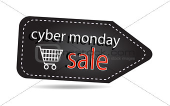 Cyber monday sales tag isolated over white background