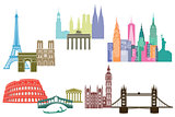 monument and skylines of cities around the world