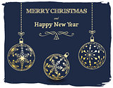 Christmas and New Year dark blue background