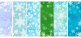 Set of banners with grunge Christmas backgrounds with snowflakes