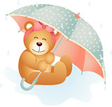 Girl teddy bear under umbrella on a rainy day