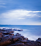 Mystical Seascape at Evening. Adriatic Sea. Long Exposure. Smooth Water.