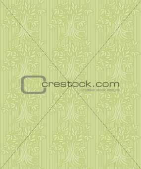 Green background with abstract tree