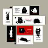 Business cards with animals black sketches for your design
