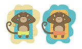 Vector set of monkeys relaxing on the beach