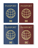 Vector set of blue and red biometric passports with globe