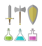 Vector set of elements for RPG games