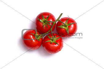 Top view on bunch of fresh tomatoes