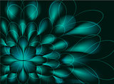 Abstract vector fractal resembling a green flower on black background. EPS10 vector illustration