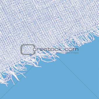 Canvas texture with fringe. White blue color