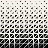 Vector Seamless Black And White Triangle Grid Halftone Pattern