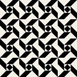 Vector Seamless Black And White Triangle Square Spiral Geometric Pattern