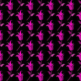 Seamless pattern of small purple tulips