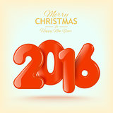 Happy New Year and Merry Christmas. Volume realistic text