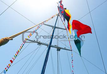 Flags on mast