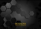 Tech geometric black background with hexagon texture