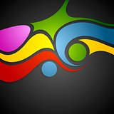 Colorful wavy pattern on black background