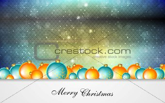 Bright greeting background with Christmas balls