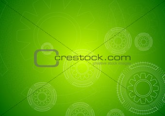 Bright green hi-tech background with gears
