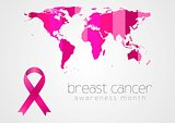 Breast cancer awareness pink ribbon and map