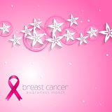 Flowers pink design and breast cancer awareness ribbon