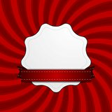 Red retro swirl beams and blank label