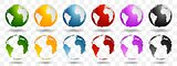 Bright earth globes vector design