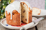 Rustic Style Kulich, Russian Sweet Easter Bread Topped with Suga