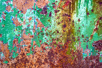 Abstract old rusty painted cracked metal background