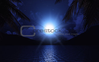 3D lake with palm trees at moonlight