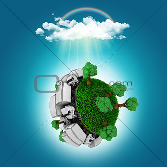 3D render of a grassy globe with trucks and trees under a rain c