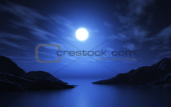 3D landscape of lake and mountains