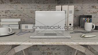 3D laptop on shelf