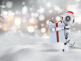 3D robot carrying Christmas gift