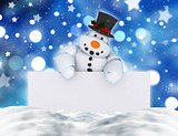 3D snowman holding a blank sign