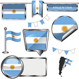 Glossy icons with flag of Argentina