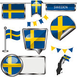 Glossy icons with flag of Sweden