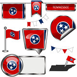 Glossy icons with flag of Tennessee