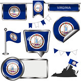 Glossy icons with flag of state Virginia